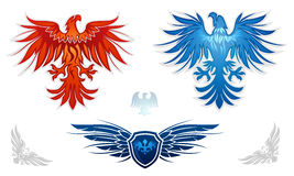 Heraldic eagles vector set Stock Photography