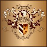 Heraldic element with armor, banner, crown and ribbons in royal Stock Photos