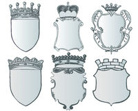Heraldic element collection and Coat of arms template Stock Photos
