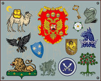 Heraldic elements. Traditional heraldic elements. Mix and Match to create your own one. Additional  format Illustrator 8 eps Royalty Free Stock Image