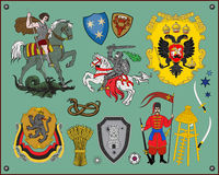 Heraldic elements. Traditional heraldic elements. Additional  format Illustrator 8 eps Royalty Free Stock Images