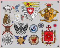 Heraldic elements. Traditional heraldic elements isolated on light background. Additional  format Illustrator 8 eps Stock Photography