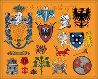 Heraldic elements set 1. Traditional heraldic elements. Mix and Match to create your own one. Additional vector format Illustrator 8 eps Royalty Free Stock Photos