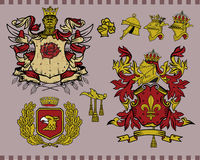 Heraldic elements set 15. Traditional heraldic elements. Mix and Match to create your own one. Additional  format Illustrator 8 eps Royalty Free Stock Photo