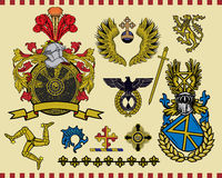 Heraldic elements set 16. Traditional heraldic elements. Mix and Match to create your own one. Additional  format Illustrator 8 eps Stock Photography