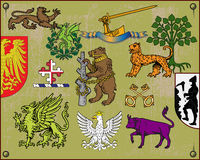 Heraldic elements set 2. Traditional heraldic elements. Mix and Match to create your own one. Additional vector format Illustrator 8 eps Royalty Free Stock Photo
