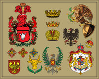 Heraldic elements set 6. Traditional heraldic elements. Mix and Match to create your own one. Additional vector format Illustrator 8 eps Stock Photos