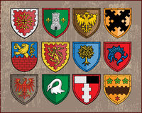 Heraldic elements - shields 1. Traditional heraldic elements. Additional vector format Illustrator 8 eps Royalty Free Stock Photos