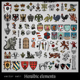 Heraldic elements various. Collection of heraldic elements eagles  on light background Royalty Free Stock Image