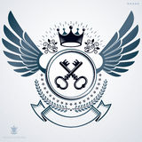 Heraldic emblem made using graphic elements like wings, security Royalty Free Stock Photography