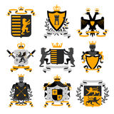 Heraldic Emblems  Black  Golden Icons Collection Royalty Free Stock Photography