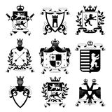 Heraldic Emblems Design Black Icons Collection Royalty Free Stock Photo