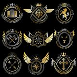 Heraldic emblems with wings isolated on white backdrop. Collecti Stock Images
