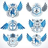Heraldic emblems with wings isolated on white backdrop. Collecti Royalty Free Stock Images
