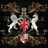 Heraldic English Design With Horse In Vintage Style Royalty Free Stock Images
