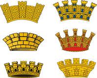 Heraldic European urban mural crowns Royalty Free Stock Image