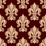 Heraldic fleur-de-lis tracery elements seamless pattern Royalty Free Stock Images