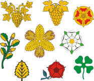 Heraldic floral elements Stock Photo