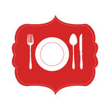 Heraldic frame Crockery with cutlery Royalty Free Stock Photo