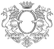 Heraldic Frame. Floral Frame. Two Lions and Crown. Vector Illustration Royalty Free Stock Photography