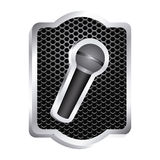 heraldic frame with grill surface and wireless dynamic microphone icon relief Royalty Free Stock Photos
