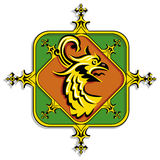Heraldic golden griffin Stock Images