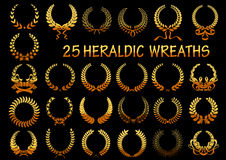 Heraldic golden laurel wreaths icons Royalty Free Stock Photography