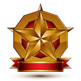 Heraldic golden symbol with stylized pentagonal star and red dec. Orative curvy ribbon, best for use in web and graphic design. Sophisticated gold ring isolated Stock Photography