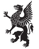 Heraldic griffin black Stock Images