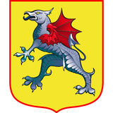 Heraldic Griffin coat of arms. Heraldic Griffin on the yellow coat of arms Royalty Free Stock Photography