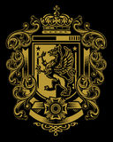 Griffin Flourish Crest. Heraldic Griffin Crest with flourishes and banners Stock Image