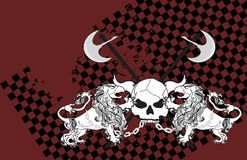 Heraldic griffin and skull coat of arms background3. Heraldic griffin and skull coat of arms background in vector format Royalty Free Stock Photo