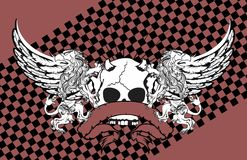 Heraldic griffin and skull coat of arms background0. Heraldic griffin and skull coat of arms background in vector format Stock Photography