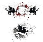 Heraldic gryphon coat of arms set1. Heraldic gryphon coat of arms set in format vector illustration