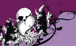Heraldic heart arrows crest background Royalty Free Stock Photos