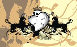 Heraldic heart arrows crest background2 Royalty Free Stock Photography