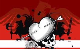 Heraldic heart arrows crest background5 Stock Photo