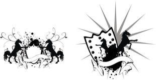 Heraldic horse coat of arms 05. Heraldic horse coat of arms in vector format royalty free illustration