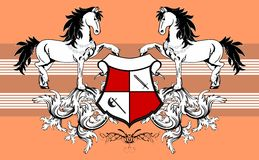 Heraldic horse coat of arms background Royalty Free Stock Image