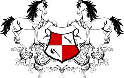 Heraldic horse coat of arms crest shield2. Heraldic horse coat of arms crest shield in vector format very easy to edit Royalty Free Stock Photography