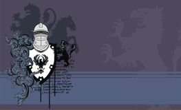 Heraldic horse lion medieval helmet crest background Royalty Free Stock Photos