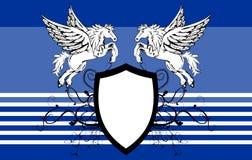 Heraldic horse pegasus crest background Royalty Free Stock Image