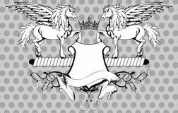 Heraldic horse pegasus crest background2 Royalty Free Stock Photos