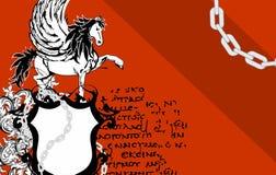 Heraldic horse pegasus crest background4 Stock Images