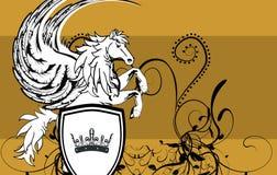 Heraldic horse pegasus crest background5 Royalty Free Stock Image