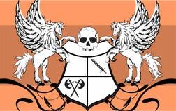 Heraldic horse pegasus crest background6 Stock Photography