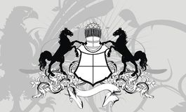 Heraldic horse shield crest background Royalty Free Stock Images