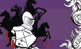 Heraldic horse shield crest background5 Stock Image