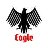 Heraldic icon of black eagle vector sign Royalty Free Stock Images