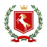 Heraldry, coat of arms. Olive branch, crown, shield, horse. Color. Heraldic image. On the red coat of arms there is a stylized white horse with a golden mane. On Royalty Free Stock Photography